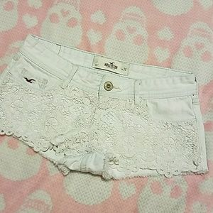 White Hollister jean shorts with lace